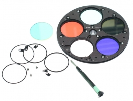 """Optec 5-position Filter Wheel for 2"""" diameter filters with mounting tabs"""